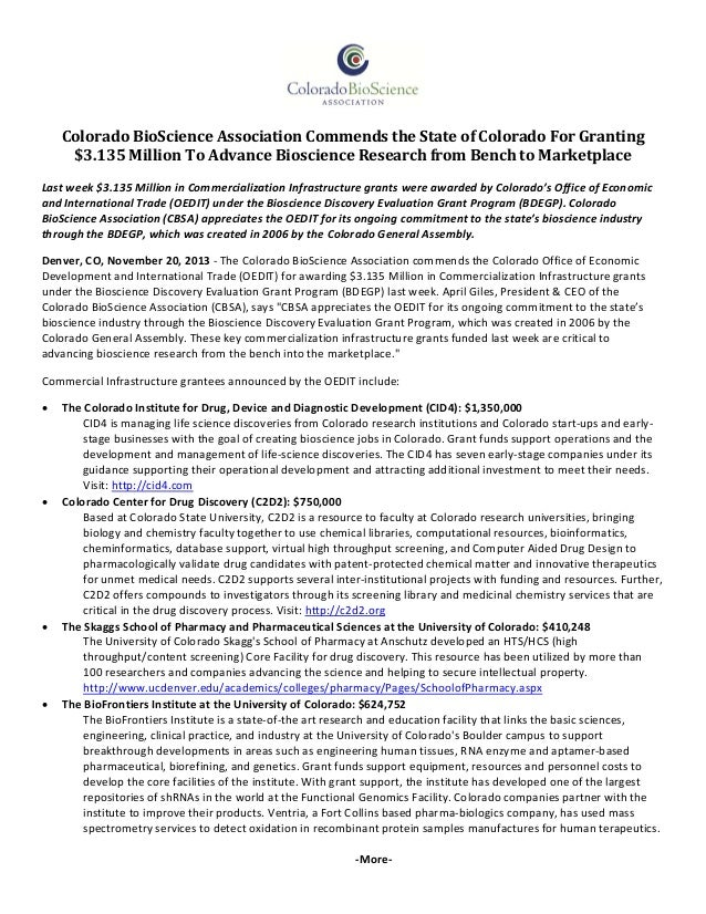 ColoradoBioScienceAssociationCommendstheStateofColoradoForGranting $3.135MillionToAdvanceBioscienceRe...