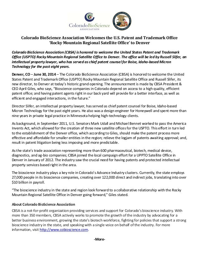 ColoradoBioScienceAssociationWelcomestheU.S.PatentandTrademarkOffice 'RockyMountainRegionalSatellit...