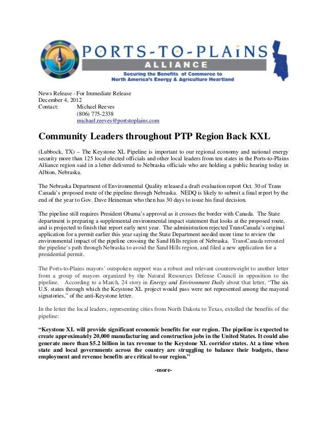 News Release PTP Keystone XL Nebraska