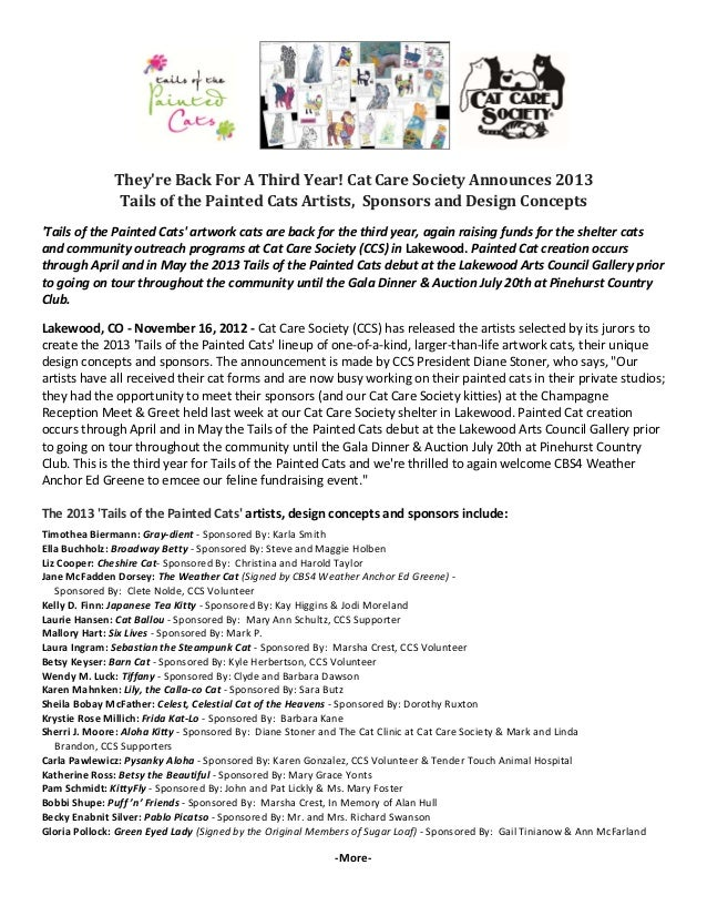 Back For A Third Year! Cat Care Society Announces 2013 Tails of the Painted Cats Artists, Sponsors and Design Concepts