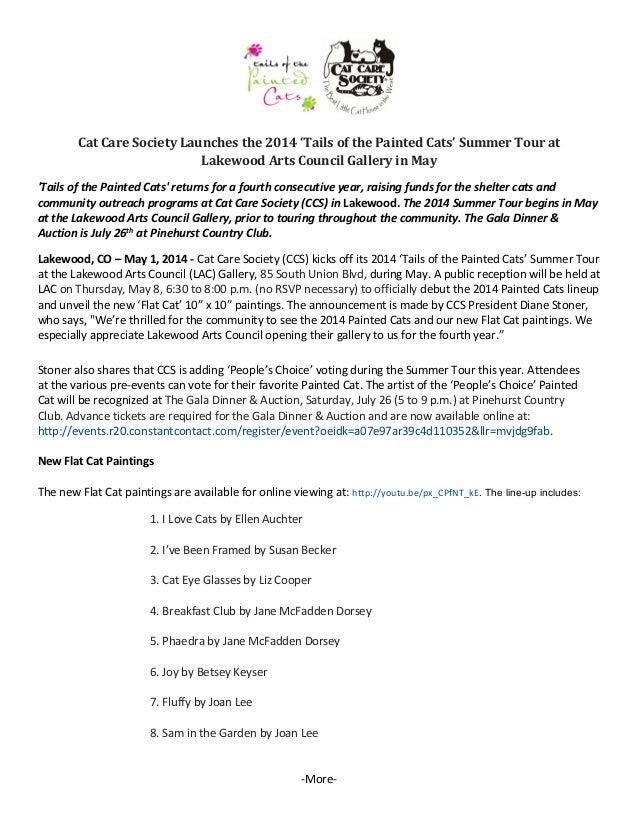 CatCareSocietyLaunchesthe2014'TailsofthePaintedCats'SummerTourat LakewoodArtsCouncilGalleryinMay  '...