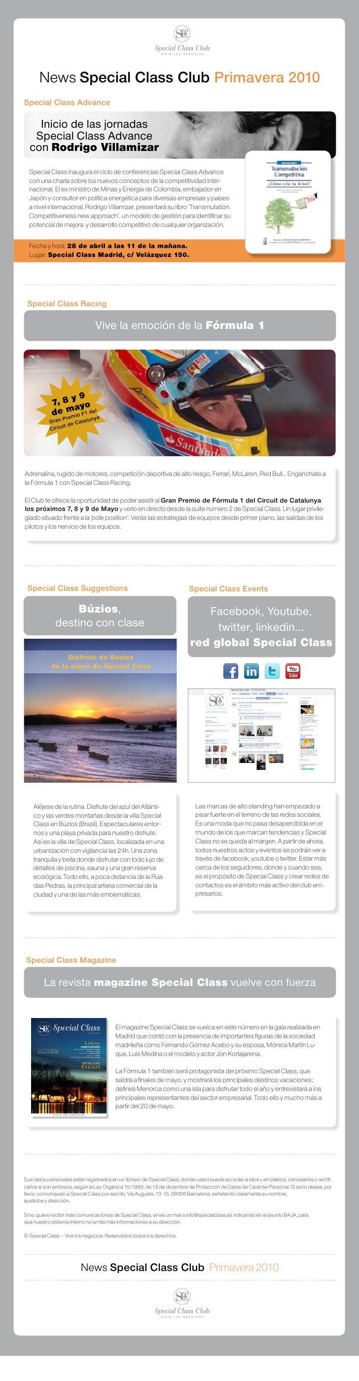 News Special Class Club Primavera 2010 Special Class Advance      Inicio de las jornadas    Special Class Advance   con Ro...
