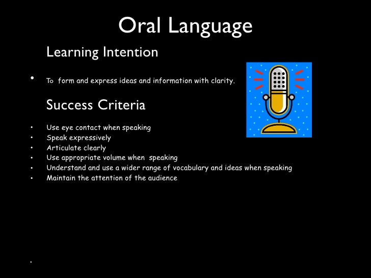 Oral Language              Learning Intention •            To form and express ideas and information with clarity.        ...