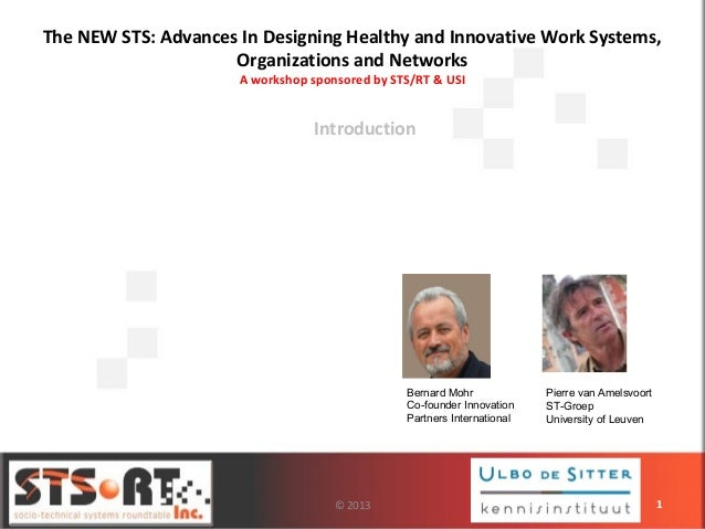 The NEW STS: Advances In Designing Healthy and Innovative Work Systems, Organizations and Networks A workshop sponsored by...