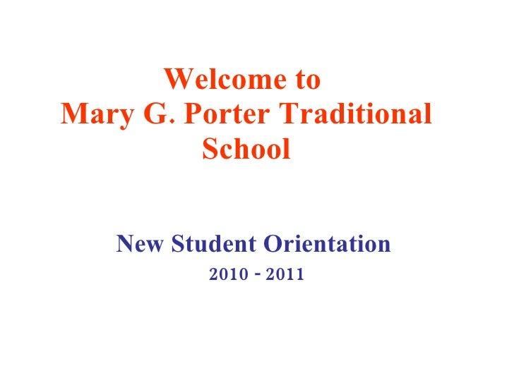New Student Orientation 2010-2011