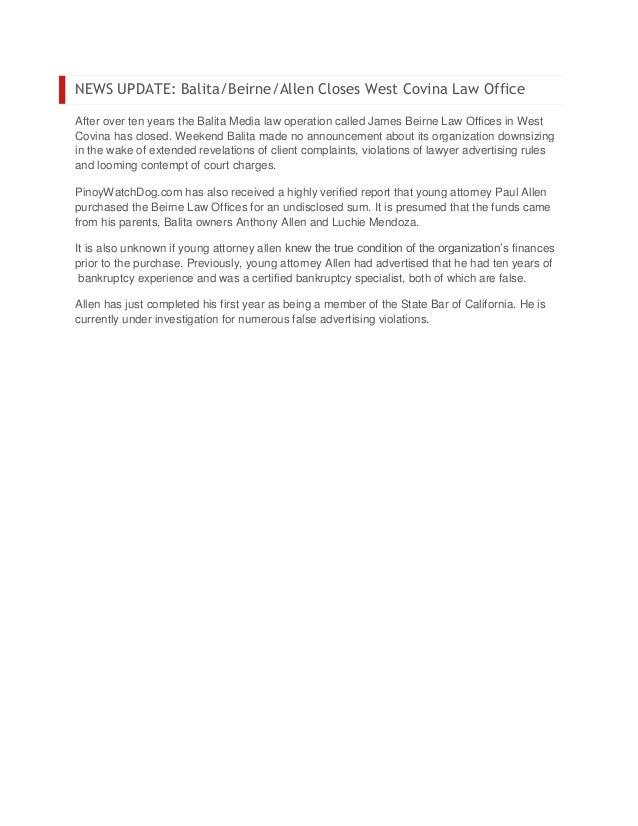 News update balita beirne allen closes west covina law office