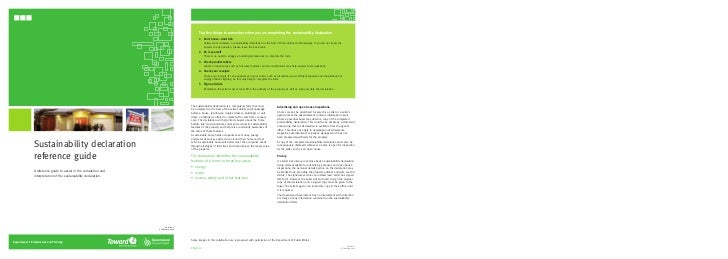 Sustainability declaration                 reference guide                 A reference guide to assist in the completion a...