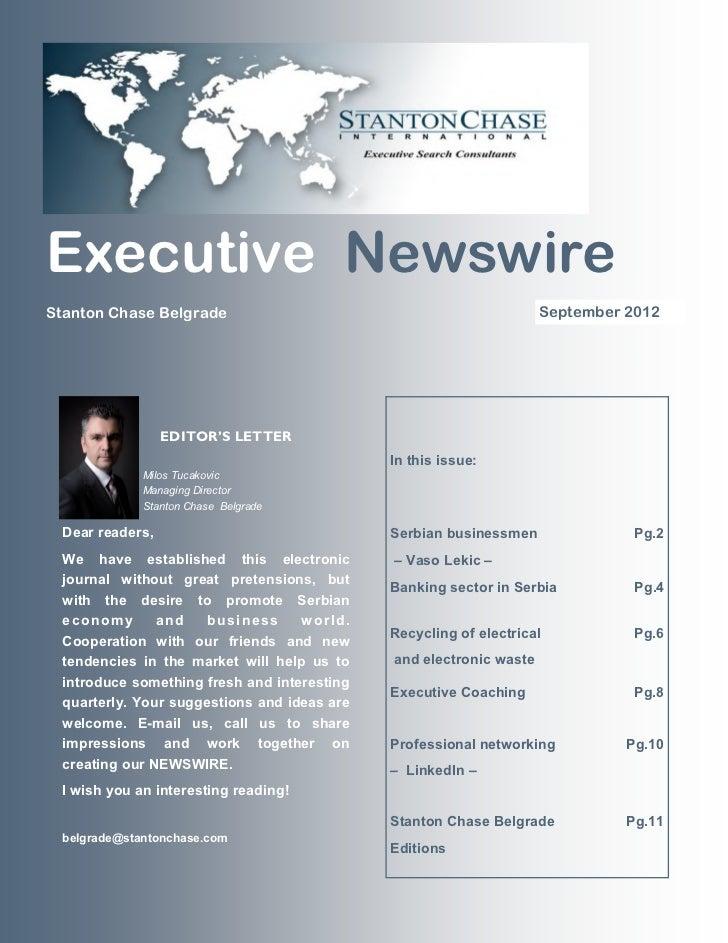 Executive NewswireStanton Chase Belgrade                                              September 2012                 EDITO...
