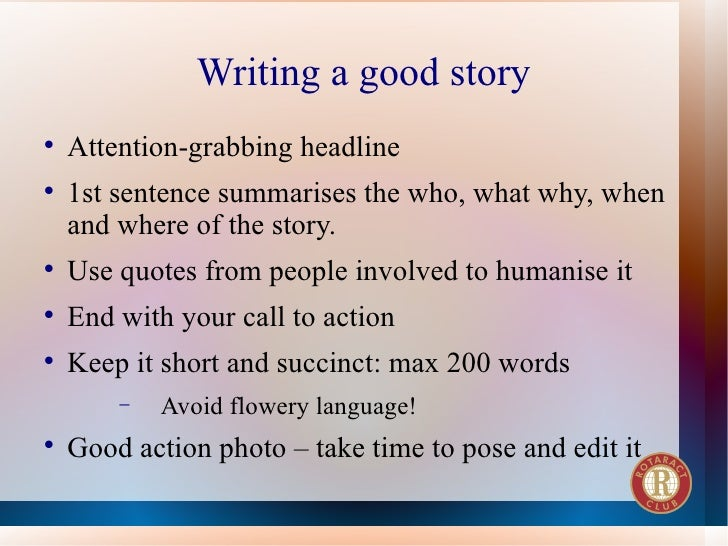 Writing a great story