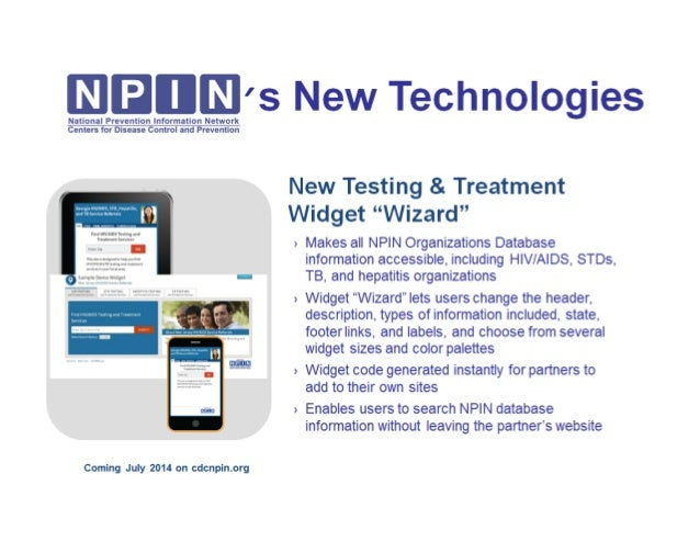 NPIN's New Technology Coming Soon: New Testing and Treatment Widget