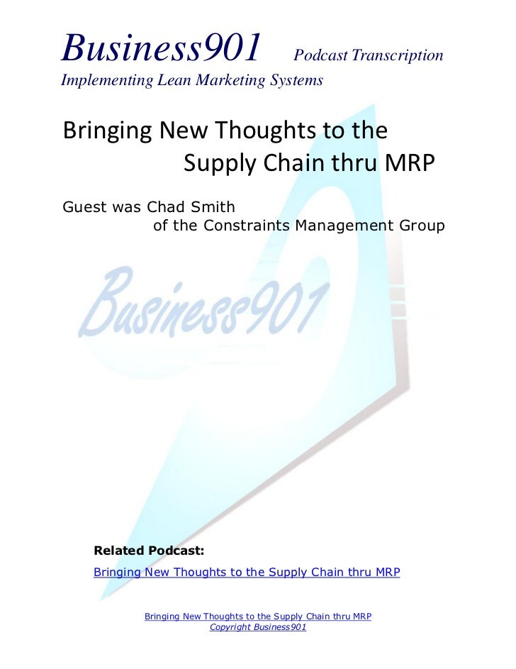 New Thoughts to the Supply Chain