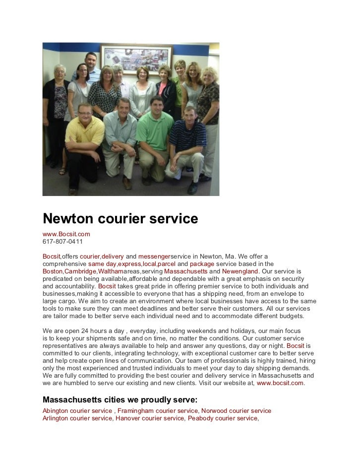 Newton courier servicewww.Bocsit.com617-807-0411Bocsit,offers courier,delivery and messengerservice in Newton, Ma. We offe...