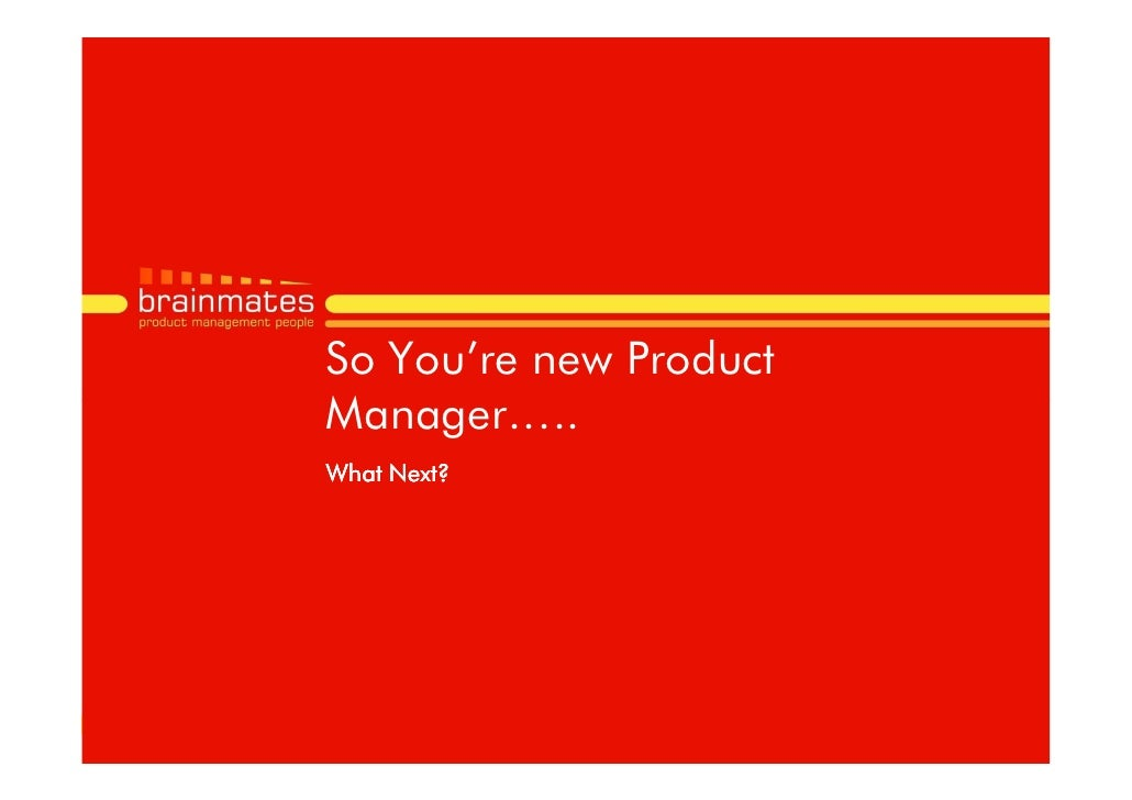 So You're new Product Manager….. What Next?                             Page no.