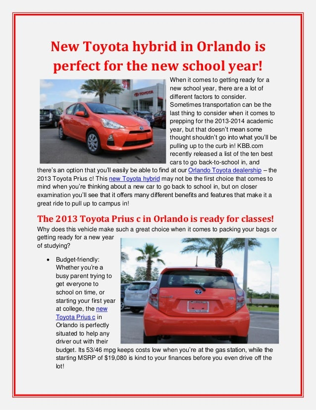 New Toyota hybrid in Orlando is perfect for the new school year!