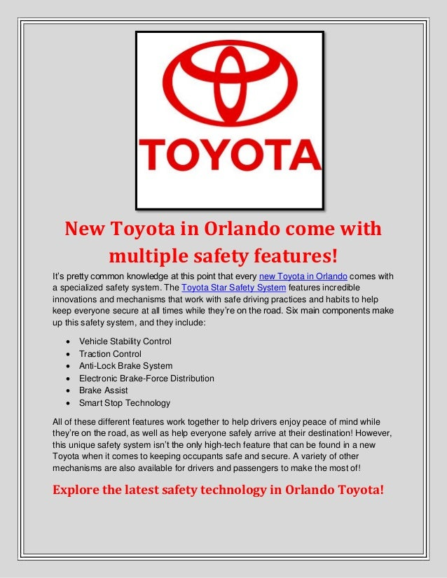 New Toyota in Orlando come with multiple safety features!