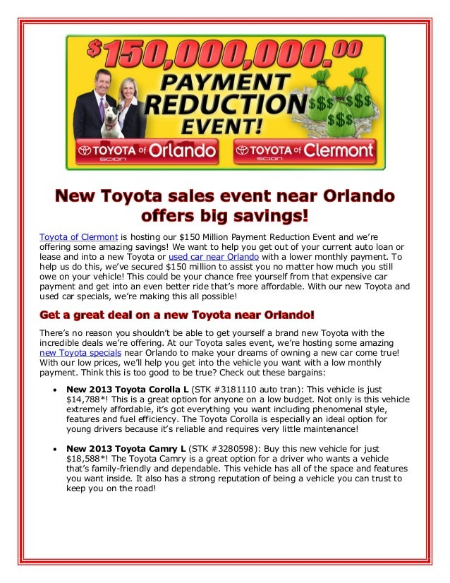 New Toyota sales event near Orlando offers big savings!