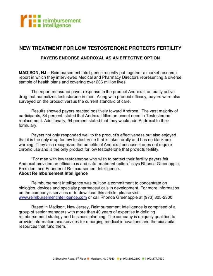 NEW TREATMENT FOR LOW TESTOSTERONE PROTECTS FERTILITY            PAYERS ENDORSE ANDROXAL AS AN EFFECTIVE OPTIONMADISON, NJ...