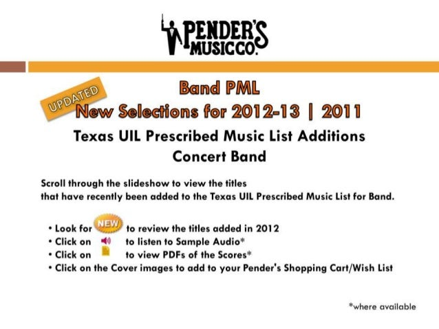 Updated: Band PML | New Selections for 2012-13 | 2011 | Texas UIL