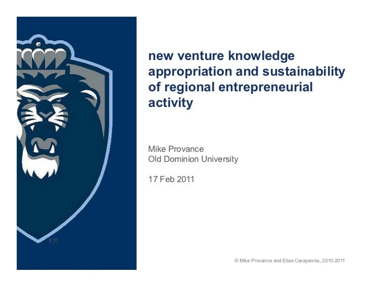 New Venture Knowledge Appropriation and Regional Sustainability of Entrepreneurship