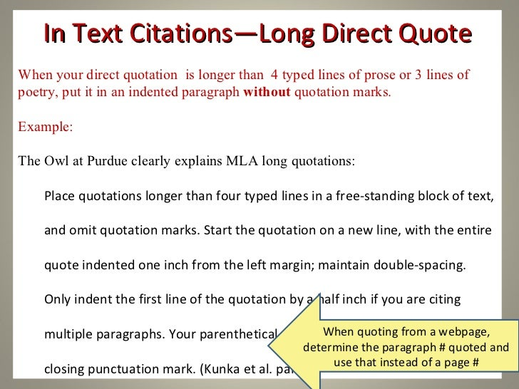 Mla in text citation long quote