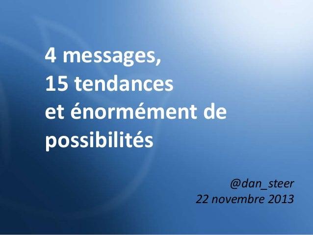 4 messages, 15 tendances et énormément de possibilités @dan_steer 22 novembre 2013