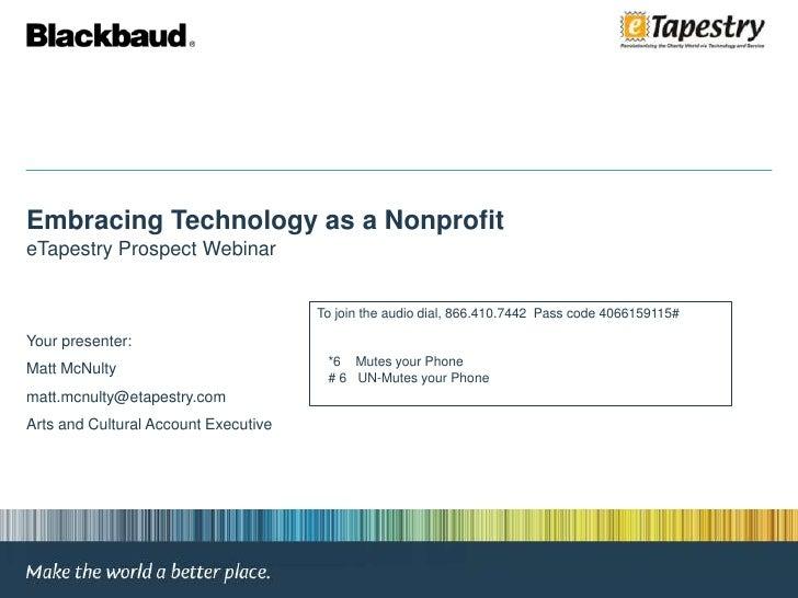 eTapestry Webinar 2010