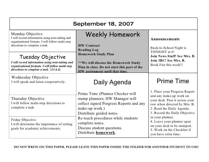 September 18, 2007 Monday Objective I will record information using note-taking and                                       ...