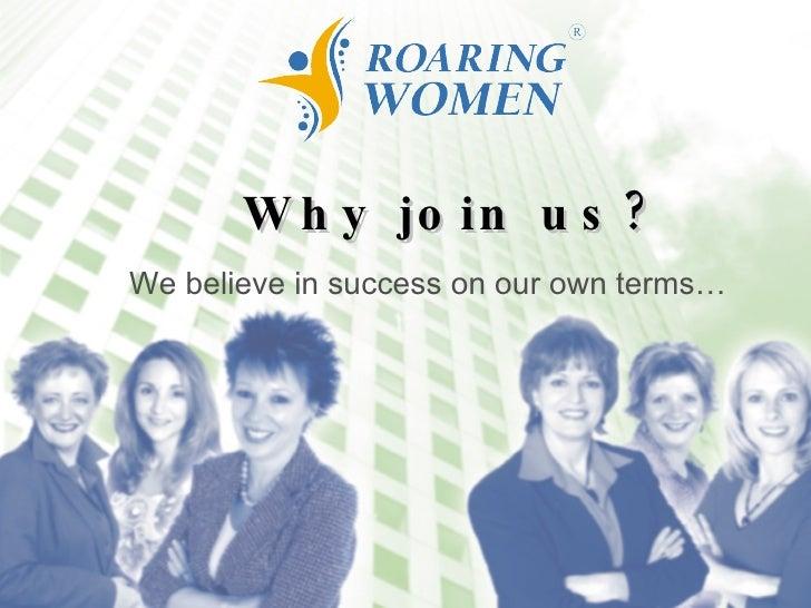 Roaring Women Business Organization Membership Information