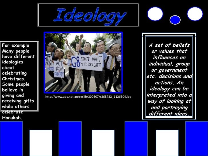 Ideology<br />A set of beliefs or values that influences an individual, group or government etc. decisions and actions. An...