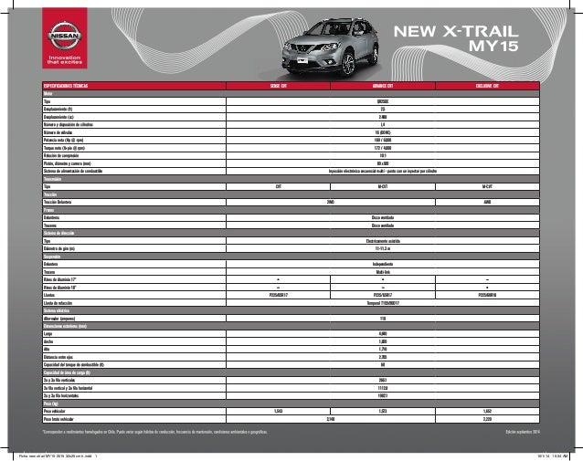 Ficha Tecnica Nissan New X Trail My15