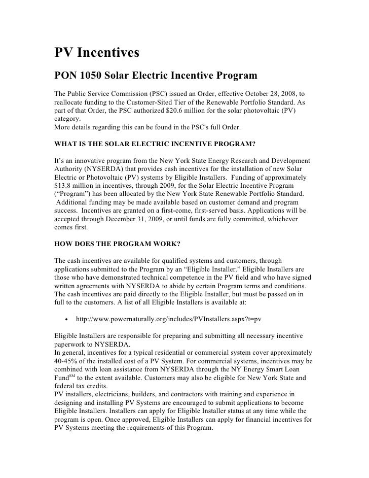 New York  Photovoltaic Incentives & Rebates