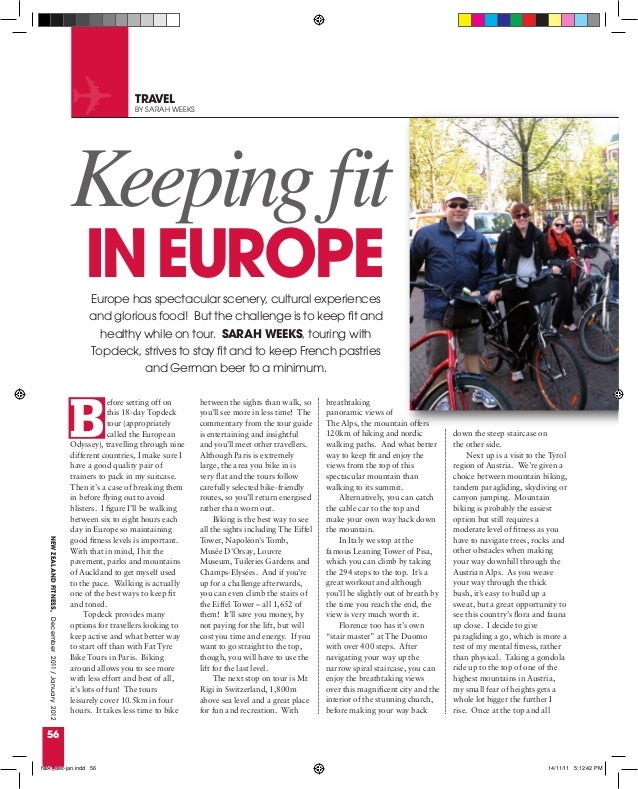 Keeping fit in Europe, New Zealand Fitness, December 2011/January 2012