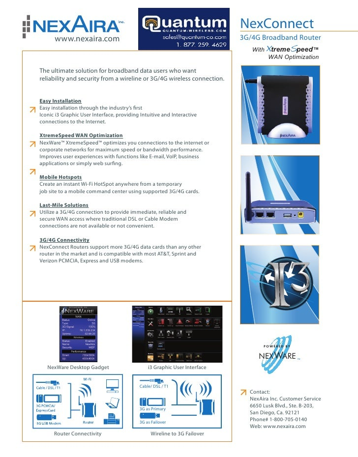 NexAira Consumer Class 3G/4G Wireless Broadband Router (Quantum-Wireless.com)