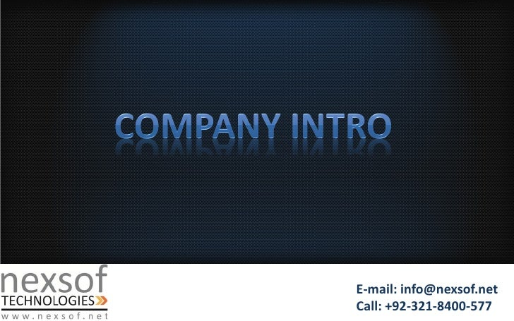 E-mail: info@nexsof.netCall: +92-321-8400-577