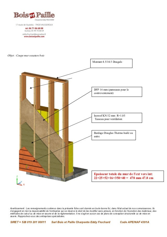Objet  Coupe mur ossature bois Mont ~ Coupe Mur Ossature Bois