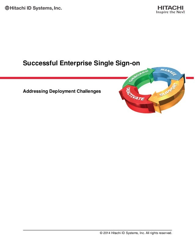Successful Enterprise Single Sign-on Addressing Deployment Challenges © 2014 Hitachi ID Systems, Inc. All rights reserved.