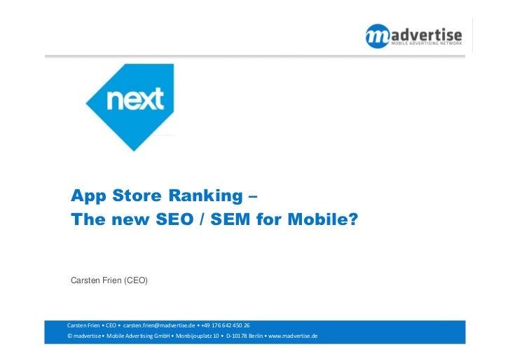 App Store Ranking-The new SEO/SEM for Mobile?