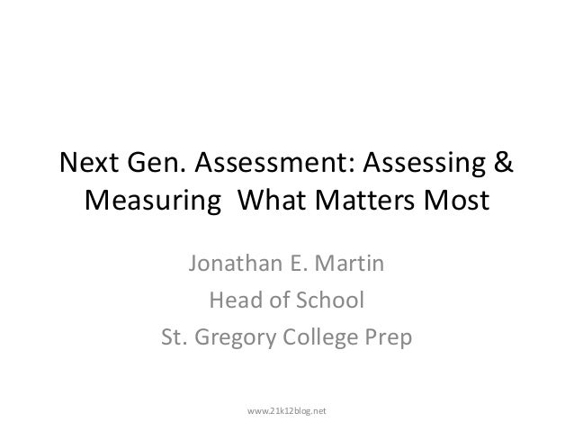 Next gen. assessments of learning