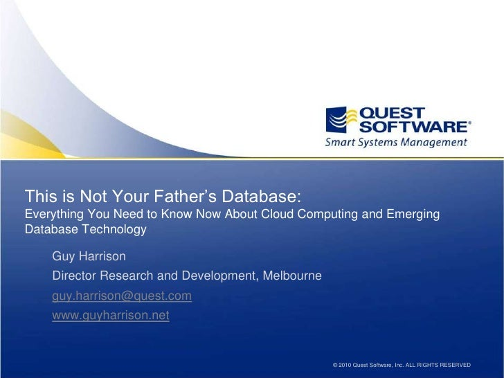 This is Not Your Father's Database: Everything You Need to Know Now About Cloud Computing and Emerging Database Technology...