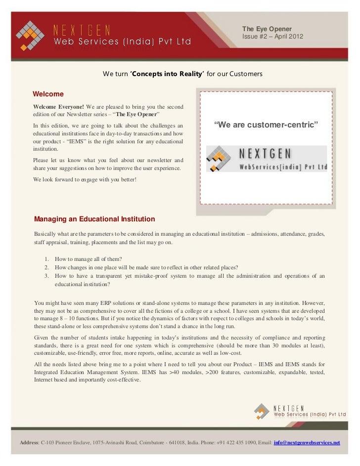 NextGen Newsletter - April 2012