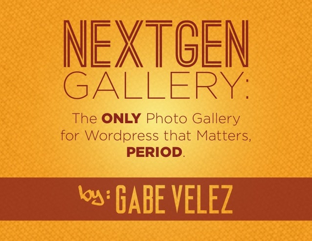 The ONLY Photo Galleryfor Wordpress that Matters,        PERIOD.