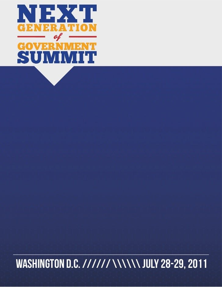 Next Generation of Government Summit - Official 2011 Program