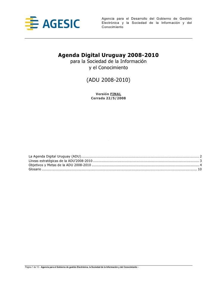 Agenda Digital Uruguay 2008-2010
