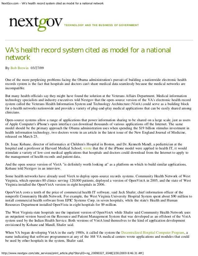 NextGov.com - VAs health record system cited as model for a national network                                              ...