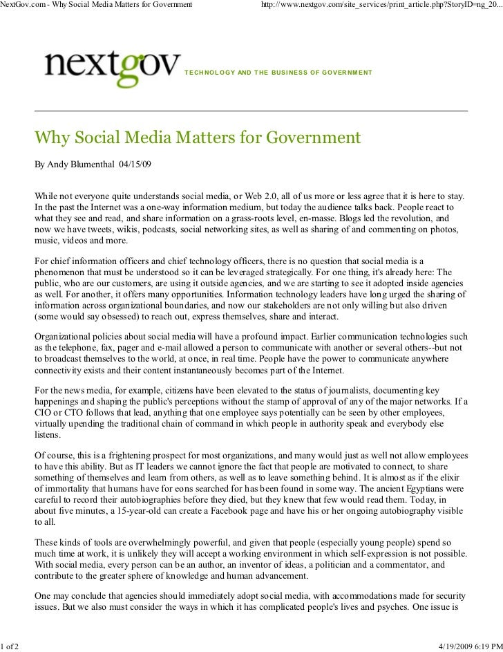 Why Social Media Matters for Government - Andy Blumenthal