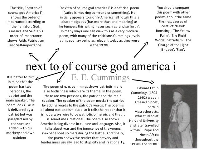 next to of course god america i This course has three objectives first and foremost, this class will i ntroduce you to literary genres (poetry, drama, and prose fiction), to the skills you need to analyze different forms of literature, and to the key terms we use in literary analysis (ranging from sonnet structure to unreliable narrators.