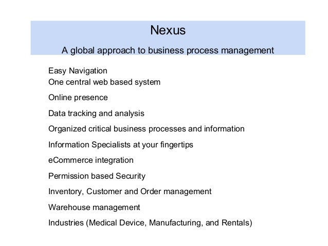 Nexus A global approach to business process management Easy Navigation One central web based system Online presence Data t...