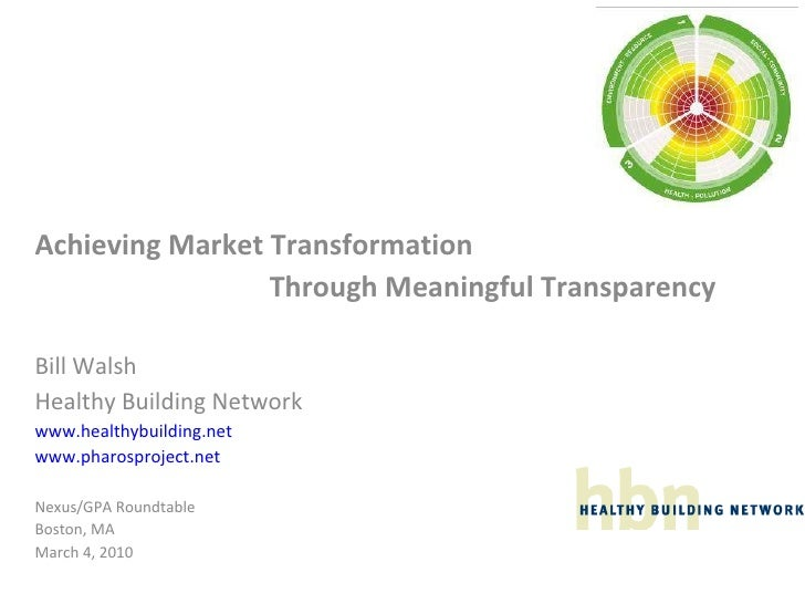 Achieving Market Transformation Through Meaningful Transparency
