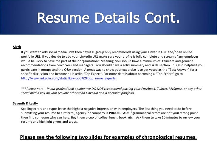 Nexus It Group Resume Writing