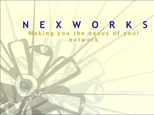 N  E  X  W  O  R  K  Making you the nexus of your network  S